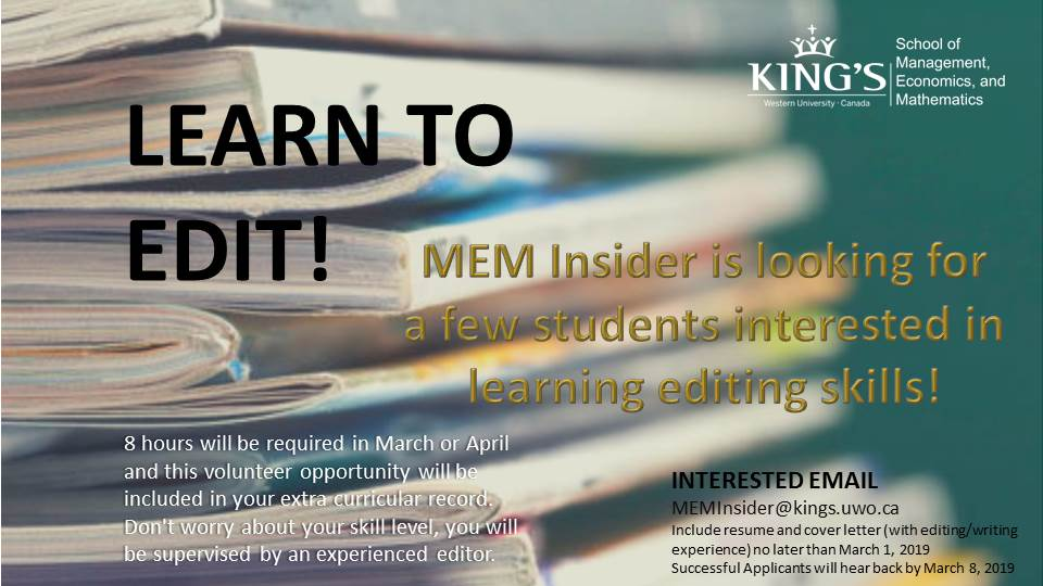 Deadline to apply for MEM Insider Editor position - King's
