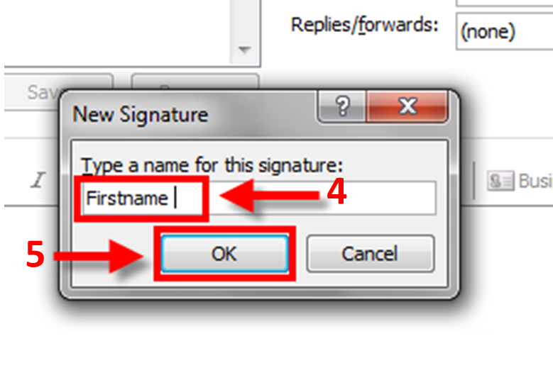 New Signature window