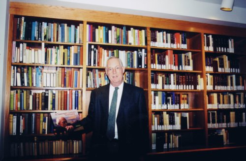(image: Ian A. Hunter stands in The Eaton Special Collections Room home of The Ian A. Hunter Malcolm Muggeridge Archival Collection.)