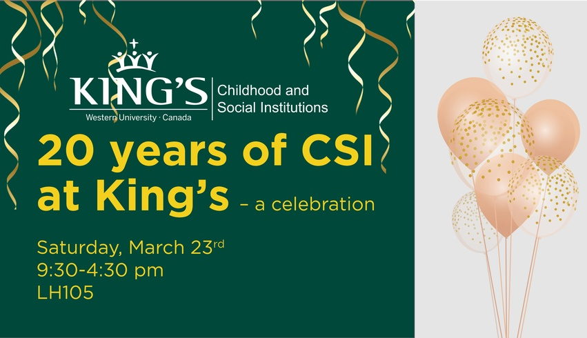 Celebrate 20 Years of CSI at King's
