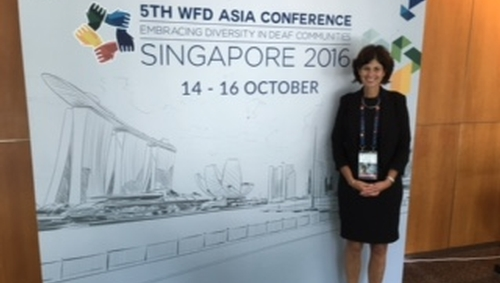 Dr. Cathy Chovaz delivers keynote presentation at the 5th World Federation of the Deaf Asia Conference