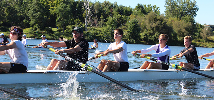 Principal David Sylvester gets lessons from Western Rowing