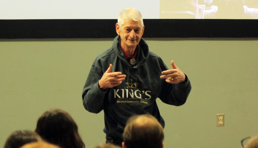 King's student Ron Robert speaks to Schulich class