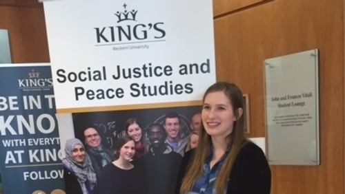 Fourth year King's student presenting at Notre Dame Student Peace Conference