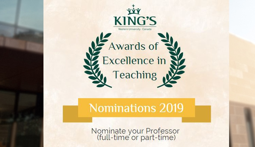 Nominations for Awards for Excellence in Teaching now open
