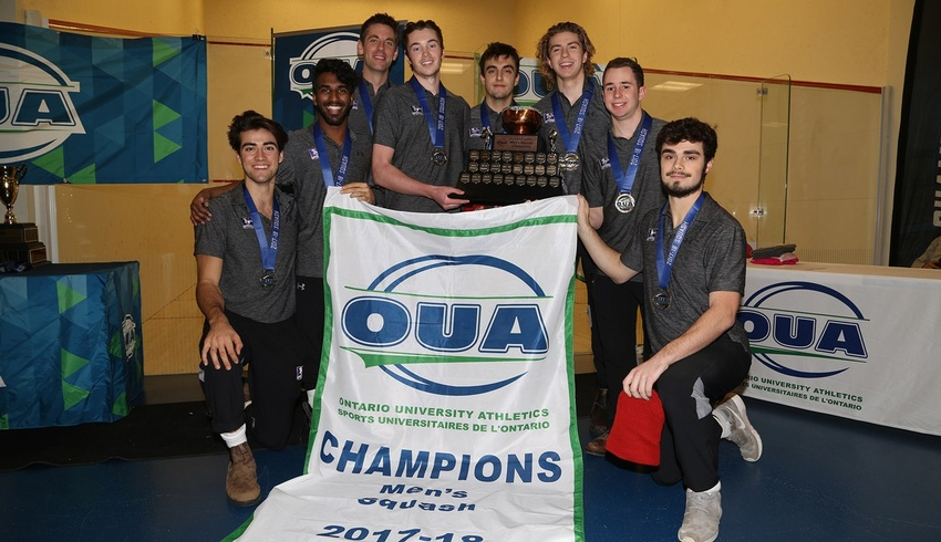 King's students on Mustangs' squash team celebrate victory
