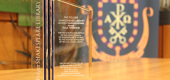 Professor Dr. Paul Werstine presented with Award by the Folger Shakespeare Library, Washington, DC
