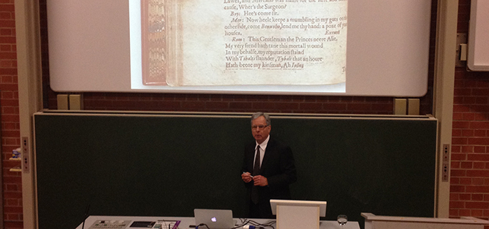 Dr. Paul Werstine delivers lecture on New Variorum Shakespeare series in Germany