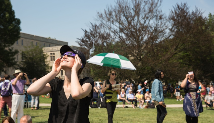 King's student enjoys solar eclipse at Western's Cronyn Observatory event on UC Hill